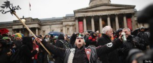 People Hold A Party In Trafalgar Square Following The Death Of Former British Prime Minister Margaret Thatcher